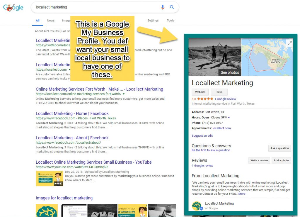 Online marketing strategy for small local business GMB