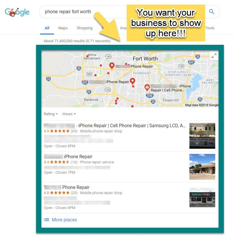 Online marketing strategy for small local business map pack